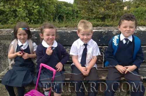 Junior Infants starting school at Killusty National School. L to R: Laura Coonan, Sophie McEvoy, Joe Purcell and Joseph Gaule