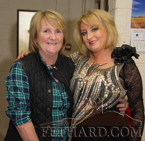 Show organiser Anne Williamson photographed with Rebecca Storm (right) before her performance in the Abymill Theatre in Fethard, Co. Tipperary