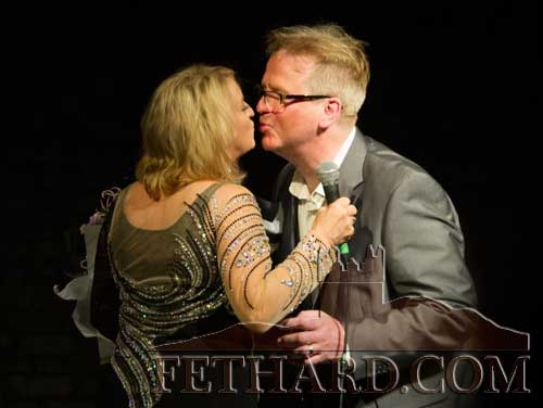 Rebecca in an 'intimate' moment on stage with her husband and musical director, Kenny Shearer, in the Abymill Theatre, Fethard, Co. Tipperary.