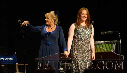 Rebecca Storm photographed with Holly-Jean Williamson in the Abymill Theatre, Fethard