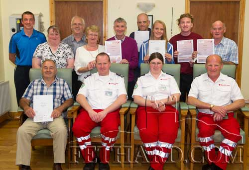 Photographed at the presentation of certificates were Back L to R: Tommy Sheehan, Geraldine Cahill, Miceál McCormack, Annette Quigley, Eamon Kennedy, Stephen Fitzgerald, Fiona Lawless, Michael Ryan, Tony McGarry. Front L to R: Pat Coyne, Martin O'Keeffe (Red Cross Instructor), Bríd O'Keeffe (Red Cross) and Richard Cummins (Red Cross). Missing from photo were Tony Burgess, Nicola Quigley and Michelle Hennebry.