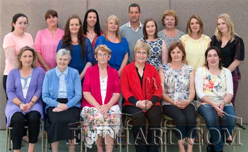 Photographed at the presentation to retired principal, Mrs Patricia Treacy, at Holy Trinity National School are Back L to R: Sarah Hogan, Aisling Fanning, Róisín Ryan, Triona Morrisson, Ann Marie Harty, Willie Ryan, Denise Meehan, Ann Darcy, Margaret Gleeson, Leonie Loughman. Front L to R: Rita Kenny, Sr. Maureen Power, Peg McGarry, Patricia Treacy, Eileen Fitzgerald and Carmel Lonergan.