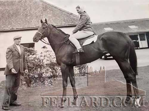John Kenrick posted this photo of Caroline Palmer (Delmage) riding 'Ancasta' winner Irish Oaks in 1964. She was one of the very few women riding in racing stables then. Pictured at Vincent O'Brien's stables in Ballydoyle.