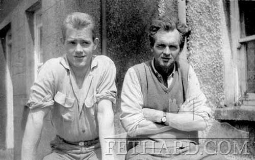 Miceál McCormack and Jack Ryan photographed in Kerry Street in 1960s during the visit of Tom Hanlon and his wife Peg and family.