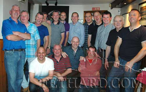 Photographed at the Fethard 1985 Minor Football Team reunion in Burke's Bridge Bar are Back L to R: Chris Coen, Paul Mullins, Willie O'Donnell, Pat Sheehan, David Kane, Paul Hayes, Liam Ryan, Brian Burke, Michael O'Riordan, Michael Ryan, Jimmy O'Shea, Andy O'Donovan. Front L to R: Roger Mehta, Gerry Murphy, Deirmuid Hackett and Colm Hackett.