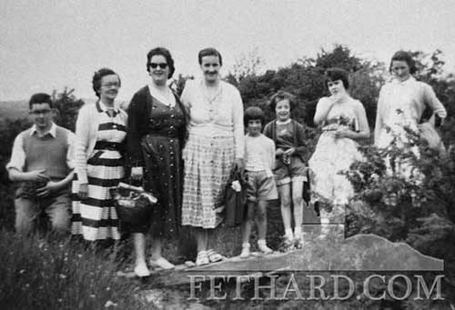 On the way to Slievenamon L to R: Don Byard, Mary Byard, Sally Finn, Peggy Kenrick, Lou and Ann Kenrick, Patsy Byard and Joan Morrissey, Cloran.