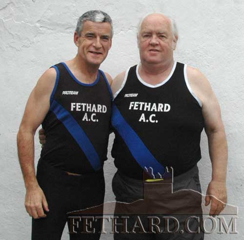 Bernard Feery and Miceál McCormack at the Tipperary AAI Masters Track & Field Championships in Templemore