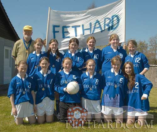 Fethard Patrician Presentation Secondary School, All-Ireland Junior 'B' Volleyball Champions after beating Presentation Kilkenny by 25-11 and 25-15 in the final played at St. Leo's College, Carlow on Friday 28th April, 2006. Back L to R: Denis Burke (coach), Sarah O'Meara, Katie Coen, Kelly Fogarty, Siobhán O'Brien, Gráinne Horan, Laura Rice. Front L to R: Aisha Tobin, Aisling Dwyer, Debbie Lawrence, Kelley Coady, Lesley Looby and Niamh Fanning.