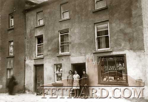 The above photograph was taken in March 1936 of Kate Cantwell's shop in Burke Street (beside the late Dick Hayes's house). Kate Cantwell's daughter was Peggy (Cantwell) McCarthy, Burke Street.