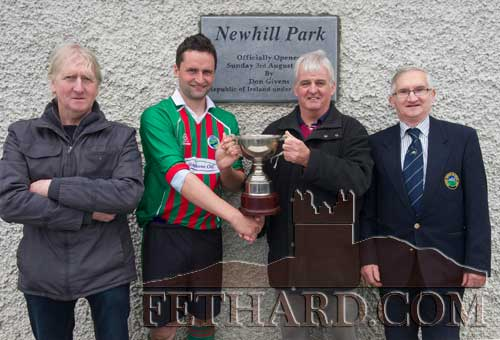 Jamsie O'Reilly (son of the late Peter O'Reilly) presenting the Peter O'Reilly Cup to Jamie McGrath, captain Mullinahone FC, following their 3-1 win over Killusty in the final played at Newhill Park. L to R: Liam Clohessy (chairman TSDL), Jamsie O'Reilly, Jamie McGrath and Richard Power (TSDL).